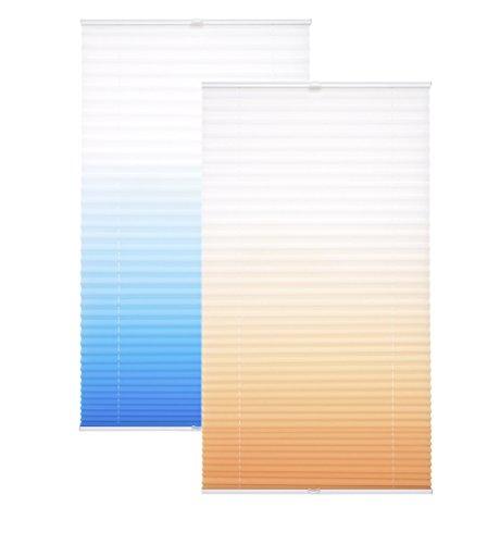Garduna Flow Plissee | orange 60 x 210cm FÜR TÜREN| mit Farbverlauf - verspannt - Smartfix - Klemmfix - ohne Bohren - viele Größen - Sichtschutz - lichtdurchlässig