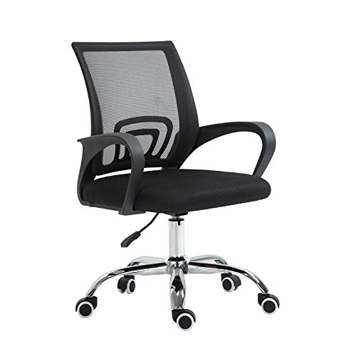 YAMASORO Ergonomic Home Office Chair Mesh Desk Chair Computer Chair with Lumbar Support Executive Cute Mid Back Swivel Rolling Task Chair for Women Girls, Black