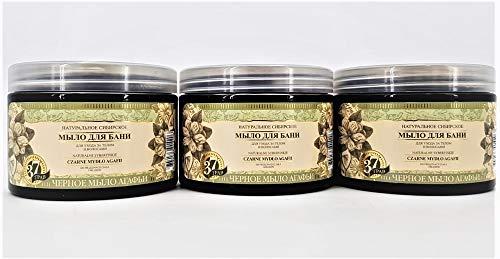 Grandma Agafia Natural Herbal Soap Schwarze sibirische natürliche Seife für die Körper und Haarpflege, Set 3 Stück, 1,5L