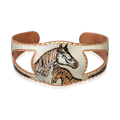 Women Girls Horse Bracelets – Wildlife Jewelry Copper Cuff Bracelet, Tapered with Shied-Shape Cut-Out, Handcrafted Farm Animal Bracelets(Horse Head)