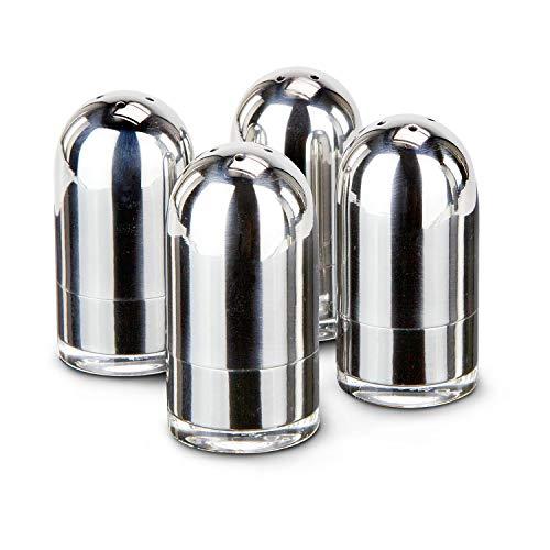 ROMINOX Geschenkartikel 4er Set Minisalzstreuer // OVO – 8-teilig, 4 Salzstreuer mit glänzender Edelstahl-Oberfläche, transparenter Boden für einfache Füllstandprüfung; ideal für Frühstückseier