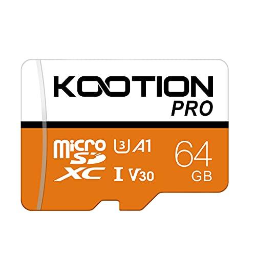 KOOTION Micro SD 64GB Tarjeta de Memoria MicroSD(U3 y V30) Micro SDXC Micro SD Card 64G Tarjeta SD Memory Card 64 Giga con Adaptador para Teléfonos Gopro Cámara