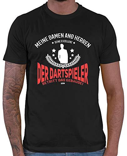 HARIZ Herren T-Shirt Seine Exzellens Dartspieler Dart Darten Männer Weltmeisterschaft Plus Geschenkkarten Schwarz L