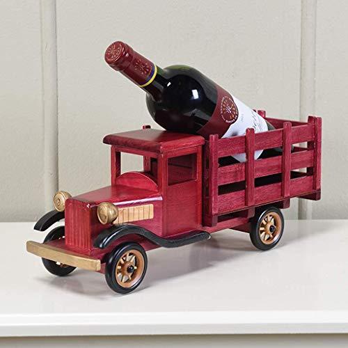 Creativo estante de vino de madera maciza modelo clásico estante vino estante sala de estar decoración del hogar marco decorativo, 38 × 12 × 30 cm estante de vino