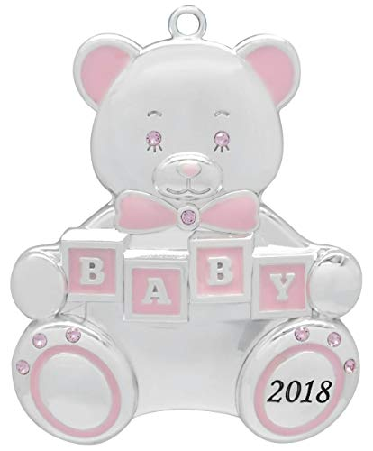 Harvey Lewis 2018 Baby Girl Teddy Bear Baby's First Christmas (Engravable) Silver-Plated Ornament - Made 9 Swarovski Elements