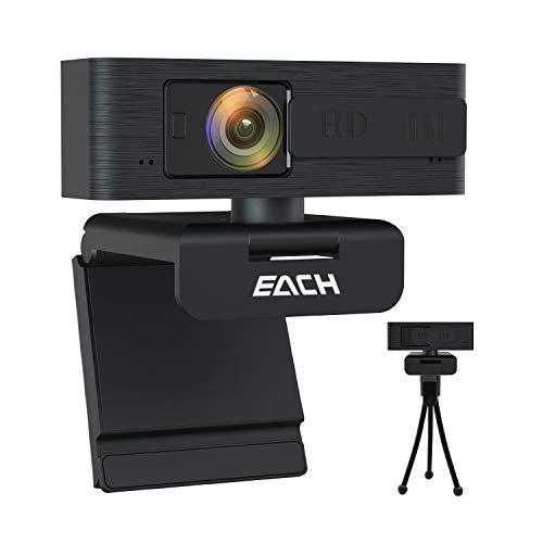 Each Ogni Webcam Autofocus, HD 1080P Webcam, Fotocamera USB CA603 con Webcam Cover, Webcam USB per Skype, FaceTime, Hangouts, WebEx, PC Mac Laptop MacBook Tablet