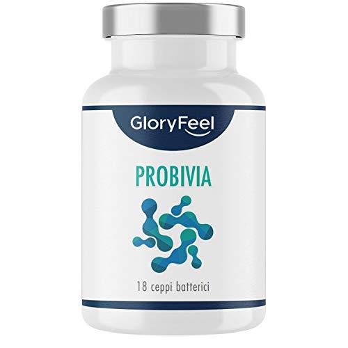 Fermenti Lattici Probiotico Probivia, 180 Capsule Gastroresistenti, 22 Ceppi Batterici (tra cui Lactobacillus, Bifidobacterium + Inulina), 10 Miliardi CFU per la Salute della Flora Intestinale
