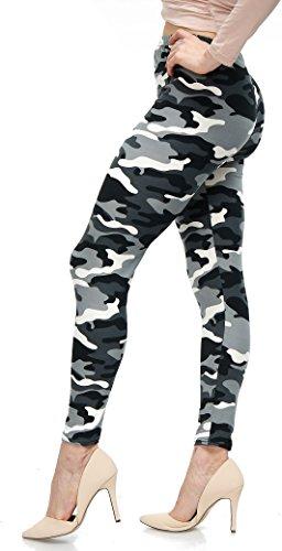 LMB Lush Moda Extra Soft Leggings with Designs- Variety of Prints - 757F Black White Camo B5