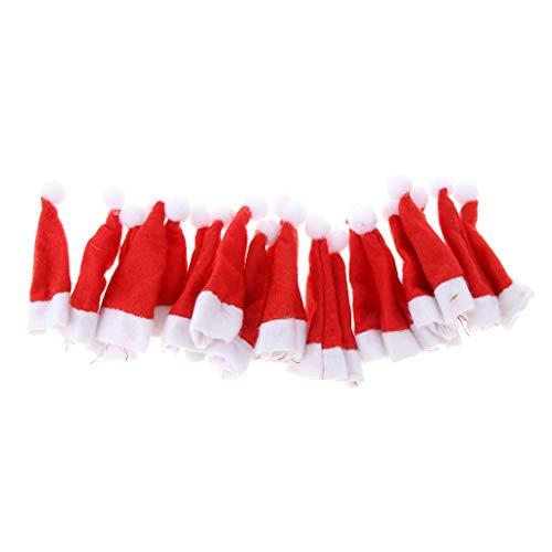 Baoblaze 20x Mini Weihnachtsmütze Nikolausmütze Santa Mütze Dekoration für Lollipop und Weinflasche