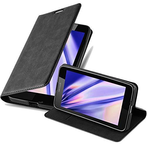 Cadorabo Hülle für Nokia Lumia 640 in Nacht SCHWARZ - Handyhülle mit Magnetverschluss, Standfunktion & Kartenfach - Hülle Cover Schutzhülle Etui Tasche Book Klapp Style