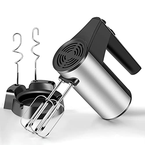 MIGVELA Hand Mixer Electric Kitchen Handheld Mixer Egg Beater Come with 4 Stainless Steel Accessories(2 Dough Hooks 2 Beaters) for Whipping Cakes Eggs Cream Cookies Brownies Dough Batters Potatoes (Black)