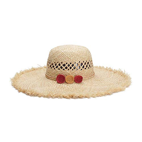 Blue Beach Simple Sun Hat Lafite Summer Cappelli a Tesa Larga Visiera Traspirante Vuota Bohemia out of The Hat (Colore : Light Khaki, Dimensione : 56-58CM)