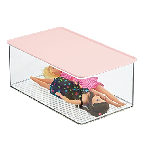 mDesign Playroom Stackable Plastic Storage Box with Lid - for Organizing Baby/Child's/Kids Toys, Action Figures, Crayons, Markers, Blocks, Puzzles, Crafts, Crayons, Dog/Cat Toy Box - Clear/Light Pink