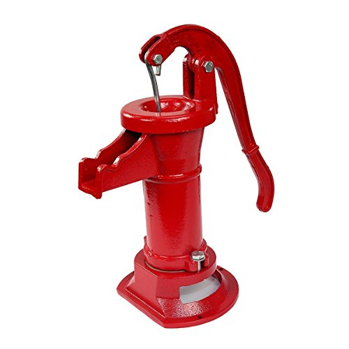 KCHEX New Antique Style Heavy Duty Cast Iron Red Well Hand Operated Pitcher Pump 25 Ft