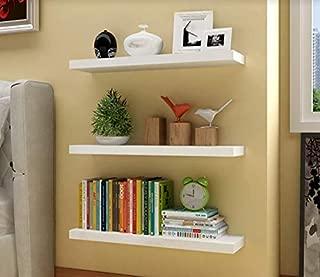 aimu Set of 3 Floating Wall Shelves Home Storage Shelves CD DVD Toys Display Wall Shelf,W40cm x D12cm x H1.5cm (White)