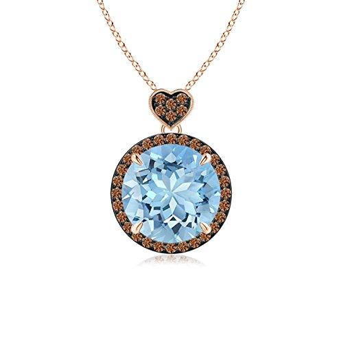 Angara.com Damen - 14 Kt Rotgold Rund Aquamarin Kaffee Diamant