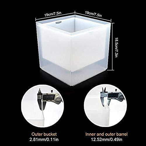 Secchio di ghiaccio, 3.5L Colorful Cambiare LED benna di ghiaccio a doppio strato quadrato di ghiaccio Vassoio da Bar Birra Champagne Vino beve birra (Colore : White)