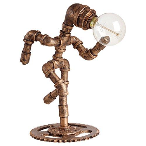 Retro tafellamp smeedijzeren tafellamp van smeedijzer voor café bar lamp werkkamer slaapkamer bedlampje koper 34 * 30cm messing