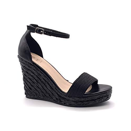 Angkorly - Damen Schuhe Sandalen Pumpe - High Heels - Böhmen - Lässig - mit Stroh - metallisch - Geflochten Keilabsatz high Heel 11 cm - Schwarz 072-1 T 39