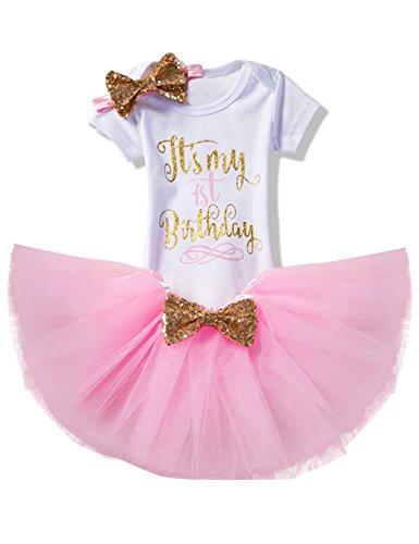 NNJXD Mädchen Neugeborene Es ist mein 1. Geburtstag 3 Stück Outfits Strampler + Rock + Stirnband Größe (1) 1 Jahre Rosa
