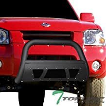 Topline Autopart Matte Black Studded Mesh Bull Bar Brush Push Front Bumper Grill Grille Guard With Skid Plate For 01-04 Nissan Frontier / 02-04 Xterra
