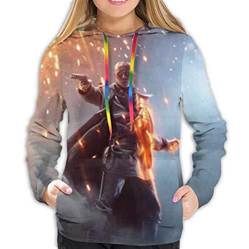 Battlefield Hoodies Damen Sweatshirt Pullover 3D Print Casual Jacke Mädchen Hoodie Tops Gr. XL, Schwarz