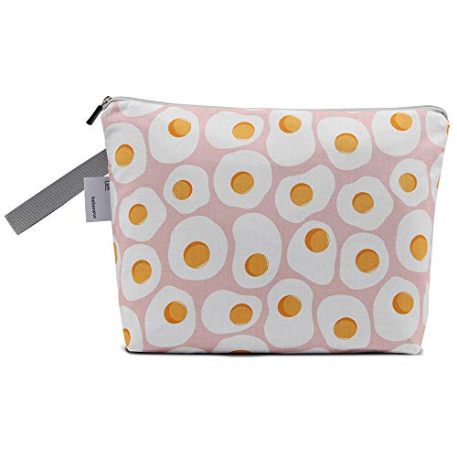 Bebenew Waterproof Diaper Wet/Dry Bags, 12x9x2 inches, Washable, Reusable,Travel, Beach, Pool, Daycare, Soiled Baby Items,Yoga, Gym Bag for Swimsuit or Wet Clothes, Fried Egg Printed Design (Pink)