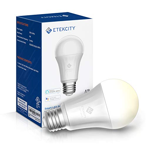 Etekcity Smart Light, WiFi Dimmable Soft White LED Bulb Work with Alexa, Google Home and IFTTT, Easy Setup, Schedule, A19 E26, 60W Equivalent, 806LM, 2700K, No Hub Required, UL Listed