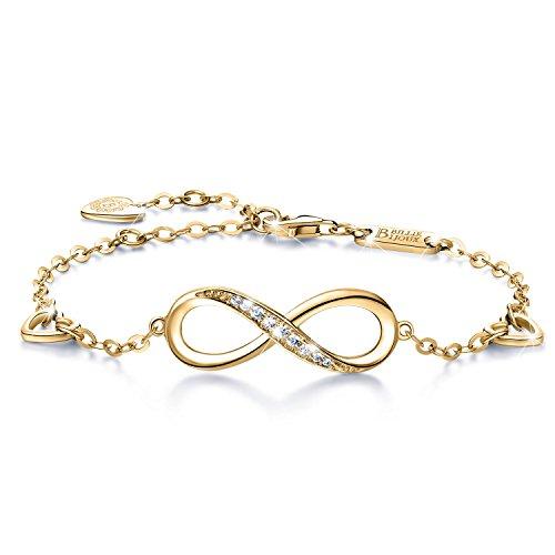 Billie Bijoux Pulsera de plata esterlina Mujer Símbolo Amor Infinito Brazalete de mujer ajustable regalo ideal el día de San Valentín (oro)
