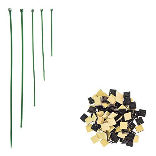 Kabelbinder Set (600Stück, 100,150,200,250,300mm je 100) in Grün, 100 selbstklebende Klebesockel, UV-beständig, geprüfte Qualität