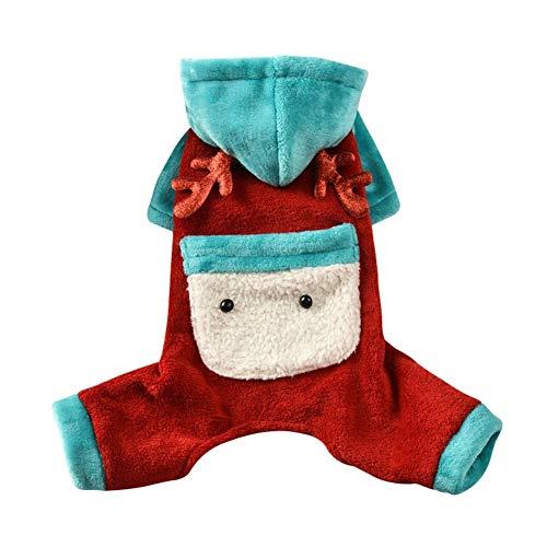 Pomerania Perro Caliente Oso otoño y del Invierno Caliente Grueso Lindo Nueva Pequeño muñeco de Nieve del Perro casero de Cuatro pies suéter (Color : Blue, Size : XL)