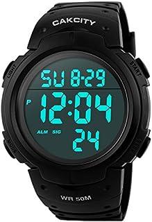 Reloj deportivo digital para hombres con esfera grande luz trasera LED resistente al agua, de estilo militar y casual con alarma luminosa, color negro
