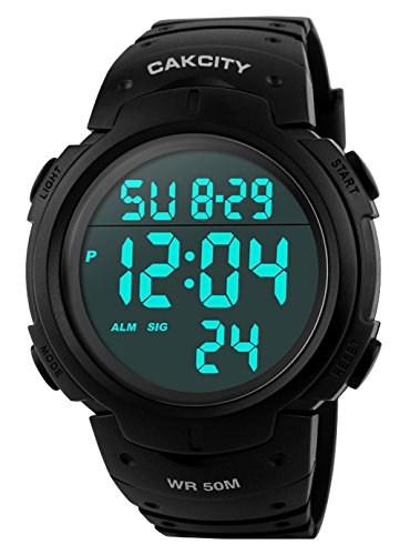 CakCity Mens Digital Sports Watch LED Screen Large Face Military Watches for Men Waterproof Casual Luminous Stopwatch Alarm Simple Army Watch