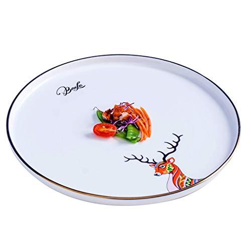 platos De Carne De Cerámica Plano Pequeño De Cerámica Redondo Ensalada Plano De Desayuno Ramen Cerámica Apto para Horno Microondas (Color : Orange, Size : 11 Inches)