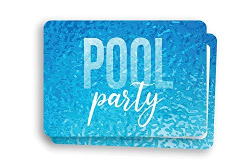Friendly Fox Einladung Poolparty - 12 Einladungskarten zum Poolparty Kinder Geburtstag Jungen Mädchen Teenager - Einladung Party im Schwimmbad, Aqua Park oder Beach Club