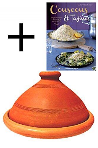 Tajine original aus Marokko, inklusive Kochbuch Vegetarischer Genuss aus Nordafrika, Tontopf zum Kochen, Tuareg Ø 30cm, für 4-5 Personen, handgetöpfert aus Marrakesch, unglasiert, frei von Schadstoffe