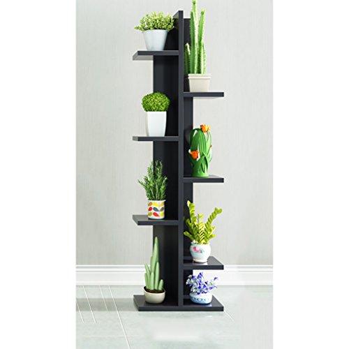 FZN Salle de séjour à Plusieurs étages avec Plancher en Bois Pots de Fleurs (Couleur : Noir, Taille : 20 * 50 * 140)