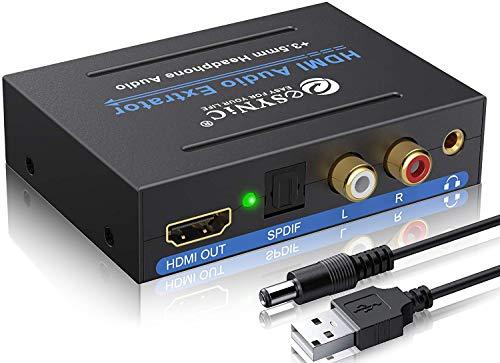 HDMI Audio Extractor HDMI zu HDMI Konverter Toslink RCA 3.5MM - Extractor und Konverter HDMI zu SPDIF Analog L / R 3.5MM Audio Splitter Adapter mit Ein / Aus Schalter für DVD SKY TV PS3