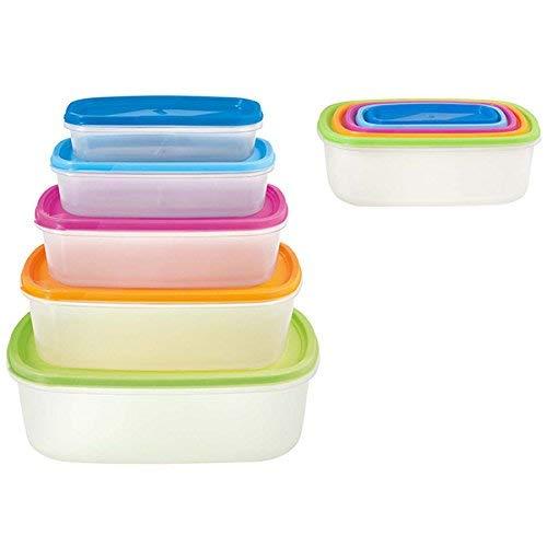 HABI Lot de 5 boîtes rectangulaires, Plastique, Transparent/Multicolore, 26 x 19 x 10 cm