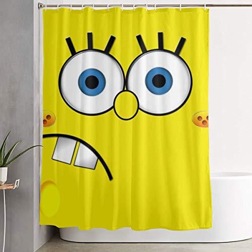 LIUYAN Duschvorhang mit Haken – Spongebob Gesicht, wasserdichtes Polyestergewebe, Badezimmer-Dekoration, 152,4 x 182,9 cm
