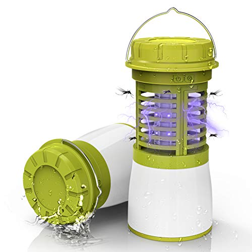 RUNACC Bug Zapper Camping Lantern - Rechargeable Replaceable Battery Collapsible Flashlight, Portable Indoor and Outdoor Hanging Hook, Green