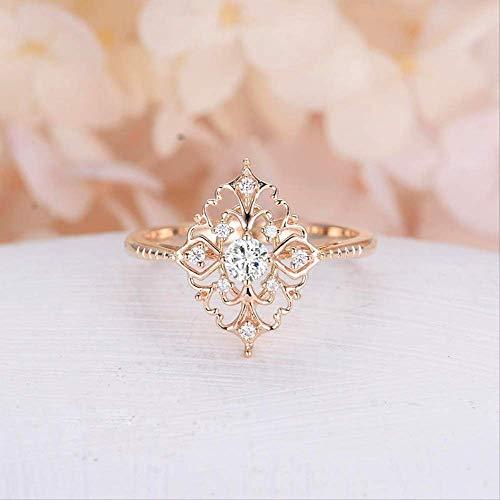 IWINO Exquisite Slim Rose vergulde diamanten ring Klinknagel Witte diamanten vrouwelijke ring Diamond Ring