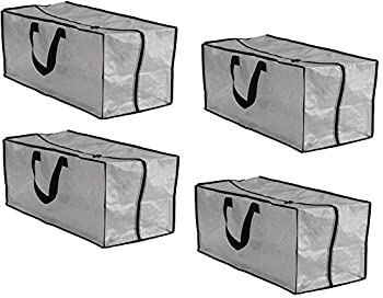 Earthwise Clear Storage Bags Heavy Duty Extra Large Transparent Moving Totes w/Zipper Closure Reusable Backpack Carrying Handles - Compatible with IKEA Frakta Hand Carts  4 Pack   29 X 13.5 X 12