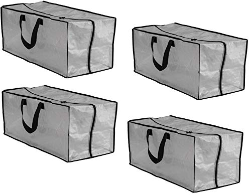Earthwise Clear Storage Bags Heavy Duty Extra Large Transparent Moving Totes w/Zipper Closure Reusable Backpack Carrying Handles - Compatible with IKEA Frakta Hand Carts (4 Pack) (29 X 13.5 X 12)