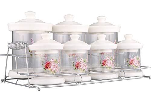 Almina Kruidenpotjes, 15-delig, met bloemenpatroon, inclusief metalen standaard, wit en transparant, van glas en porselein