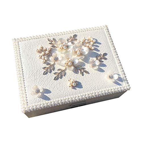 Cajas para Joyas Joyero Caja de joyería de viaje de cuero de lujo de la PU Organizador de la exhibición del organizador para las niñas Mujeres Anillos de regalo Pendientes Collares Almacenamiento con