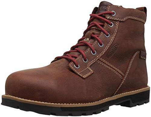KEEN Utility Men's Seattle 6' Alloy Toe Waterproof Work Boot, Gingerbread/Brick Red, 9 Medium US