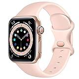 Epova Compatible con Correa Apple Watch 38mm 40mm, Mujer Hombre Silicona Pulsera para iWatch SE Series 6 5 4 3 2 1, Rosa Arena, Pequeño