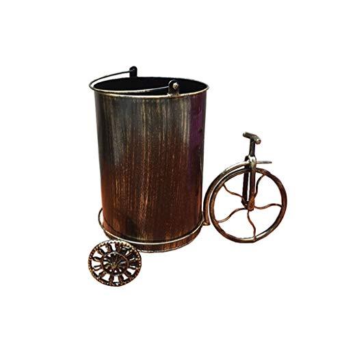 Papelera Papelera industrial Recipiente for reciclaje Papelera de hierro forjado Decoración de bicicletas Bar Restaurante Oficina Sala de estar Contenedor de basura Cubos de Basura ( Color : Brass )