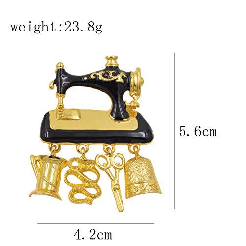 ZHENZHIA broche zwart email naaimachine voor vrouwen mode gouden kleur leuke pin goed cadeau broch
